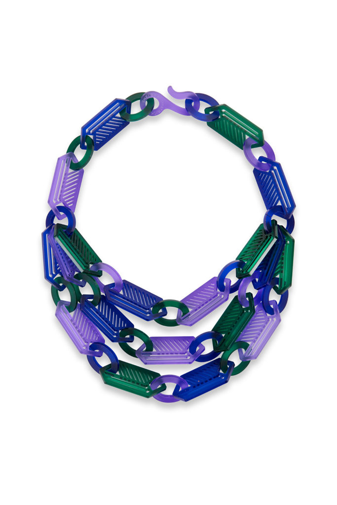 Three strand long hexagon necklace in blue, purple and green