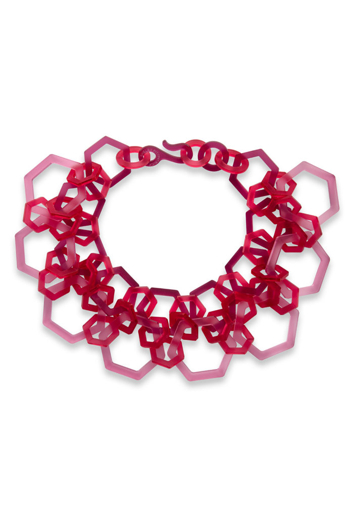 Large hexagon choker in pink and red