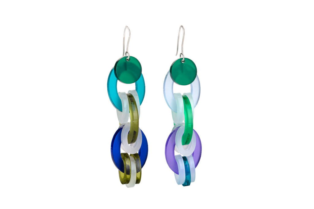Long circular earrings in a mix of colours