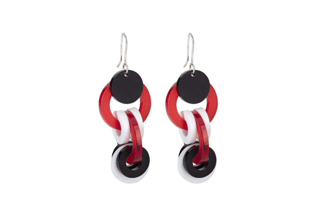 Circular earrings in red white and black